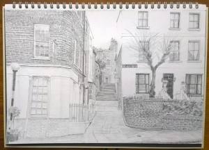 sketch_01.03.16_(40.5x28cm)_Hollybush steps, London NW3