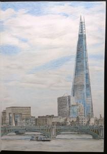 sketch_23.04.16_(29.4x42cm)_The Shard from Millennium Bridge