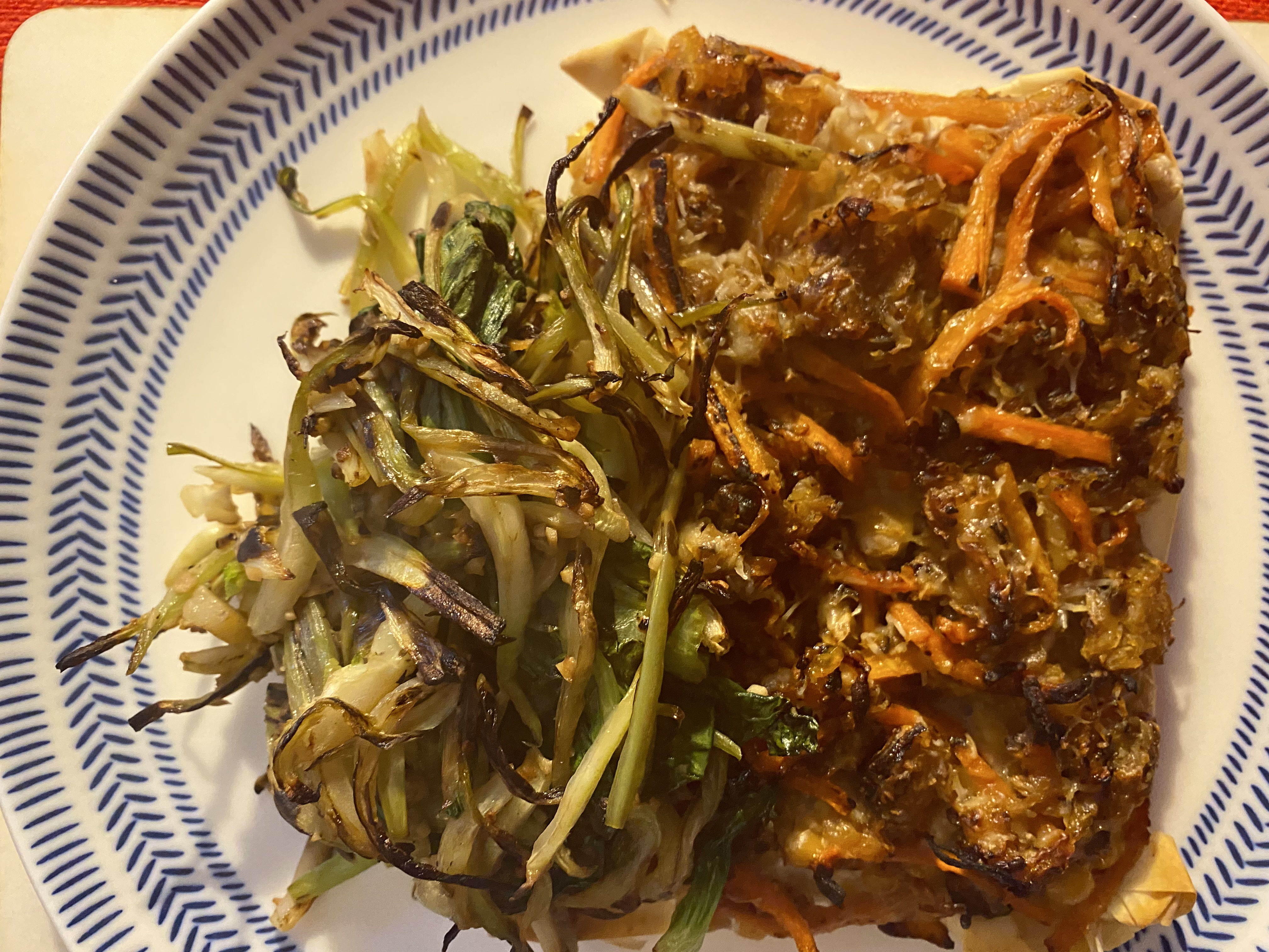 Two Root Pea Filo and Pak Choi